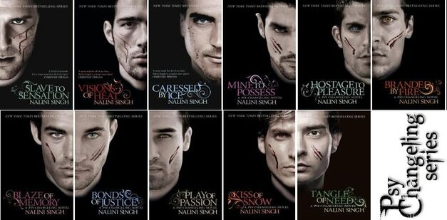 All of the book covers in the Psy-Changeling series are presented in a grid.