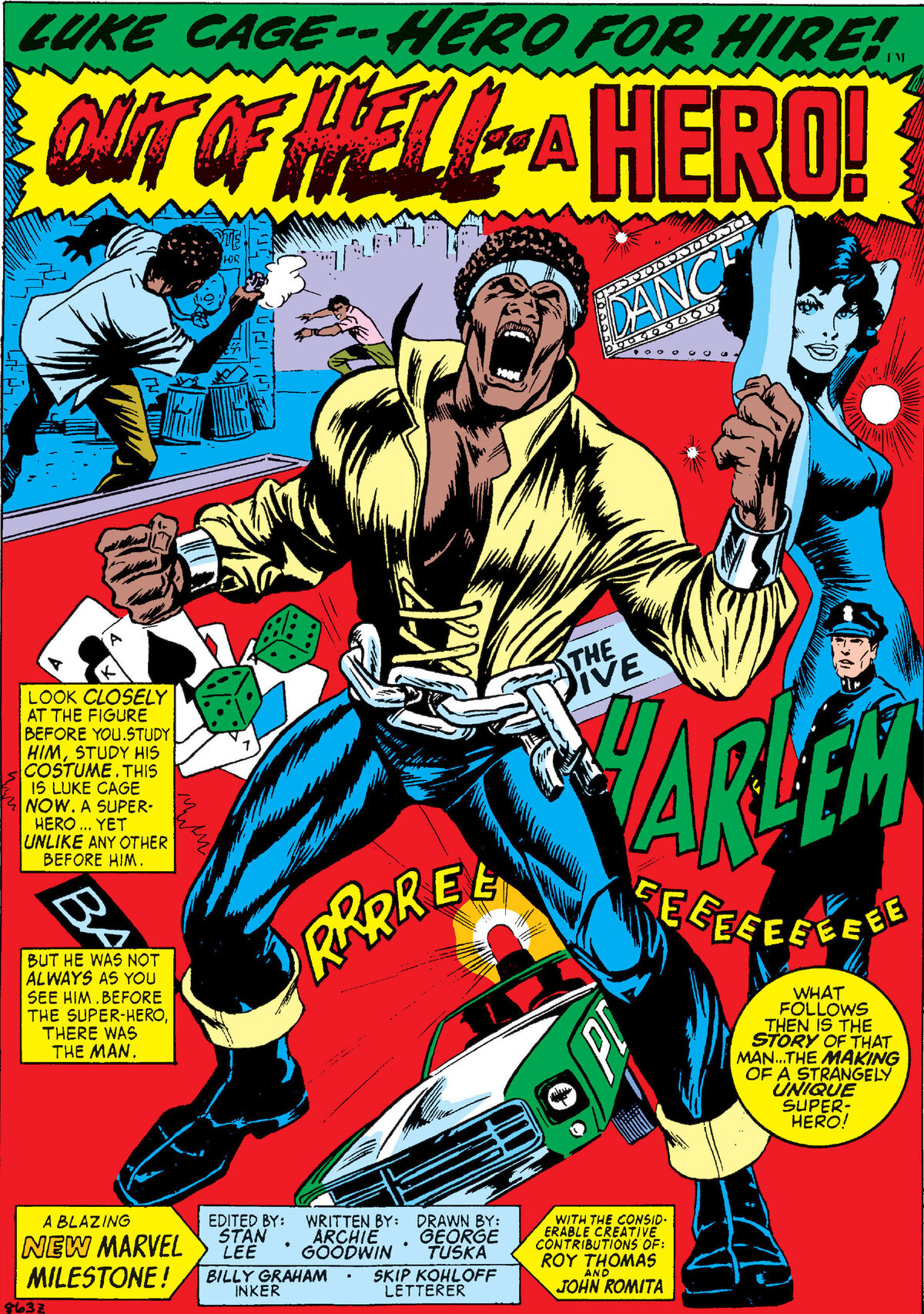Angry Luke Cage, shirt ripping off him, broken chains around waist, sexy girl, cop car, dice and a hoodlum shootout in the background