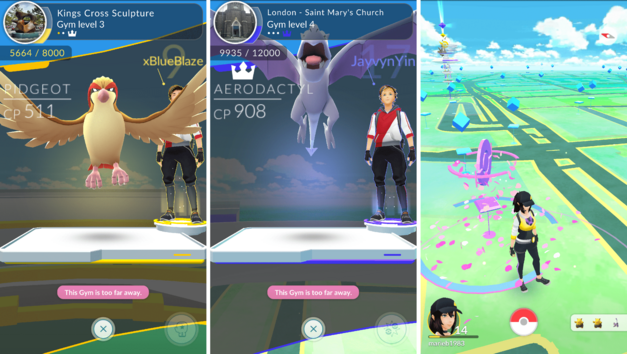 Pokemon Go battle screens and walking around
