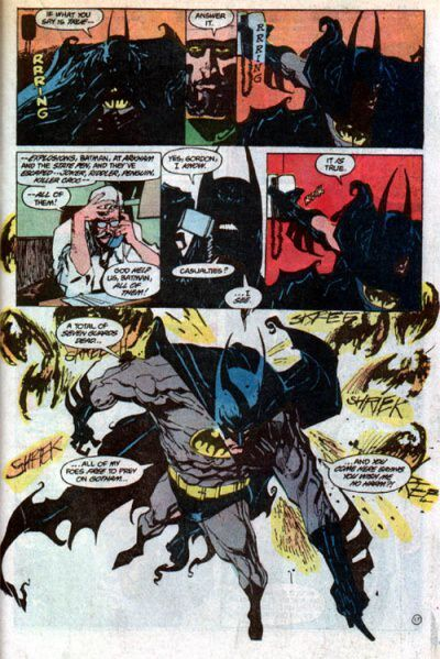 batman comic page drawn by sienkiwicz