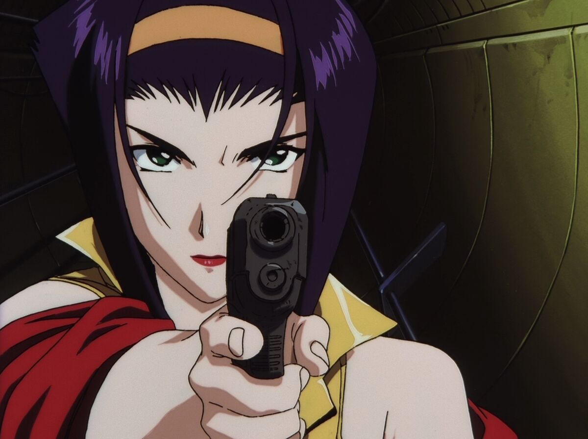 Faye Valentine pointing a gun at the screen in Cowboy BebopFaye Valentine pointing a gun at the screen in Cowboy Bebop
