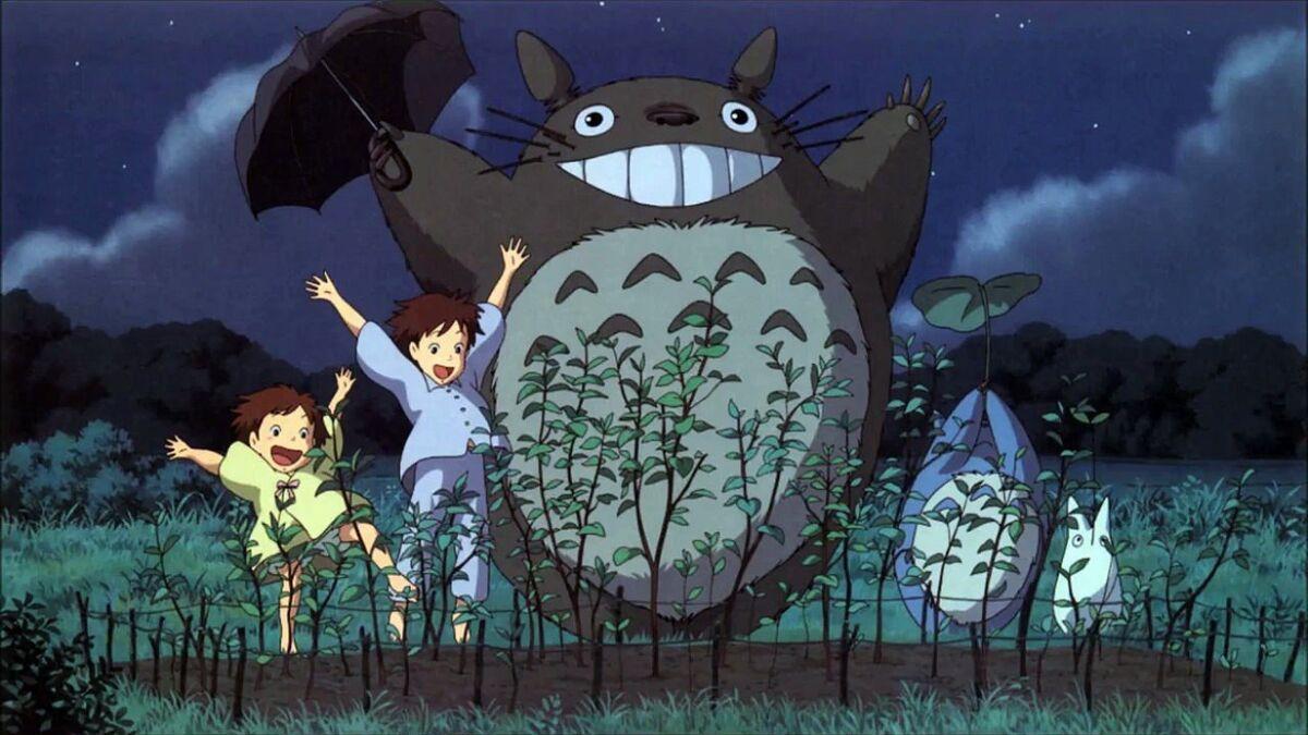 Satsuki, Mei, and Totoro in My Neighbor Totoro