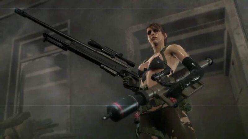 Metal Gear Solid V Quiet is a badass wielding two massive machine guns