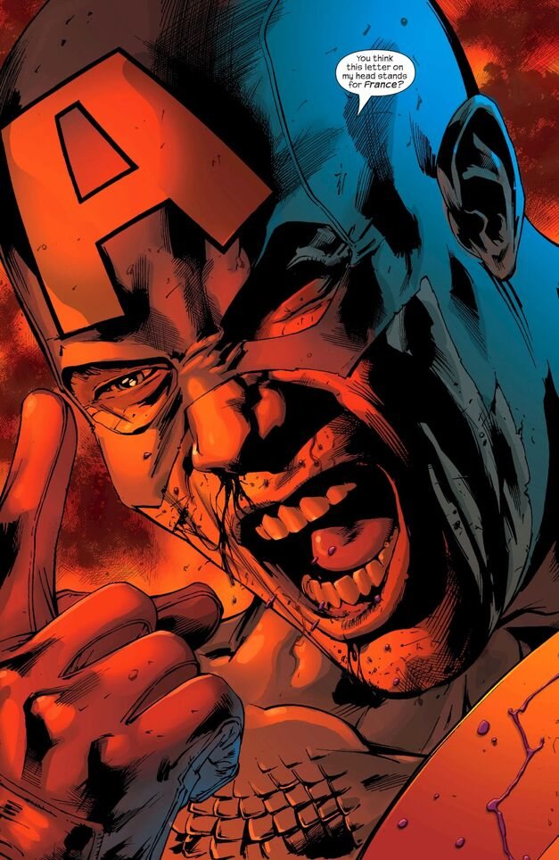 Captain America Ultimates 12 You Think This Letter on My Head Stands for France