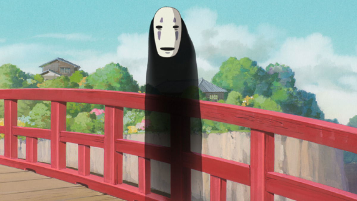 No-Face standing on bridge in Spirited Away