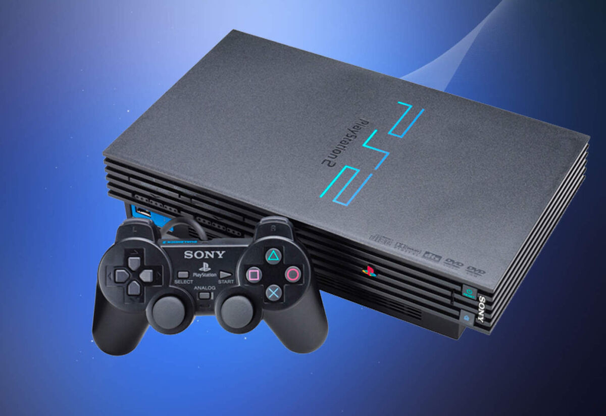 The PlayStation 2 with a controller in front of it