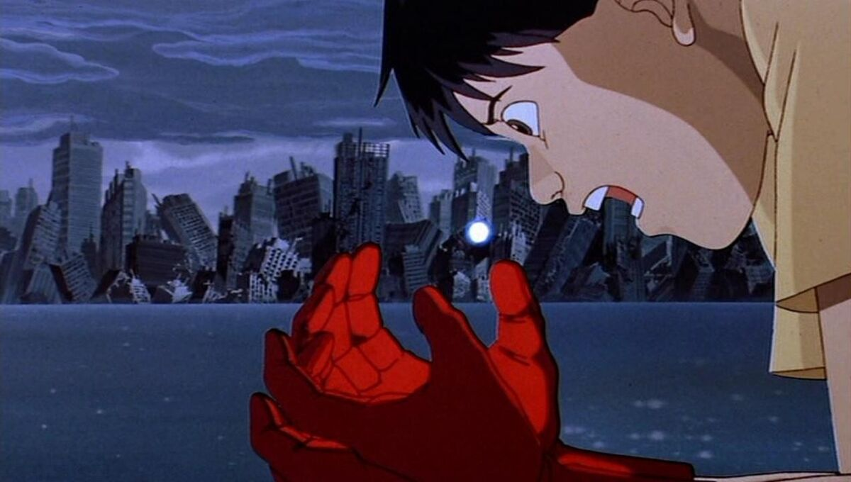 Kaneda catching the light the Espers left behind in Akira