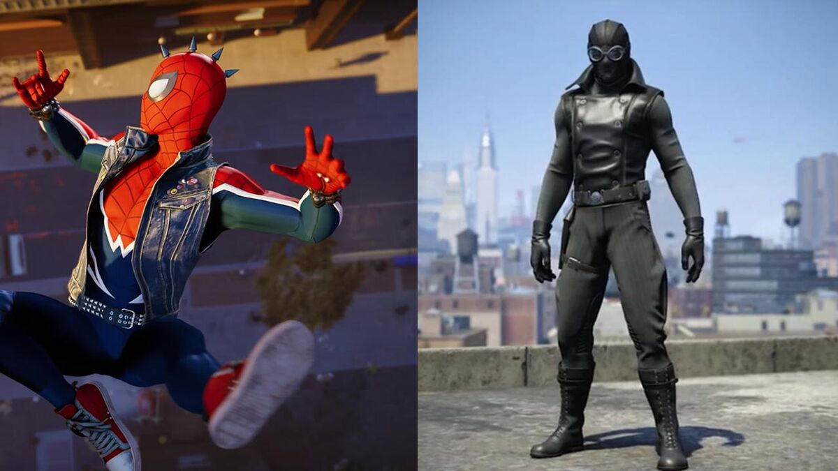 Be not-so-friendly in your neighbourhood while wearing Spider-Punk Suit. Be all moody in the Noir Suit.