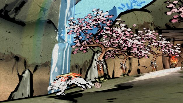 A screenshot of Amaterasu from Okami.