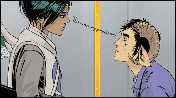 Marko and Alana first lay eyes on each other in Saga