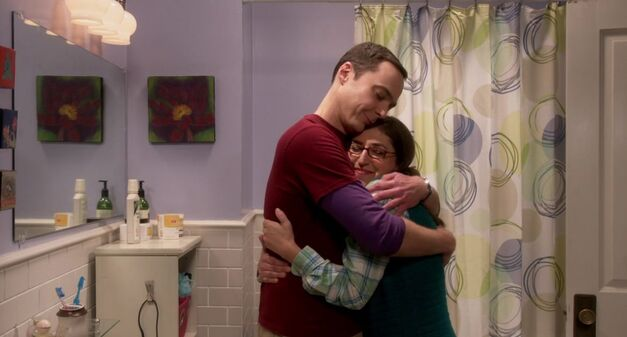 the big bang theory episode Hot tub contamination Shamy hug in the bathroom