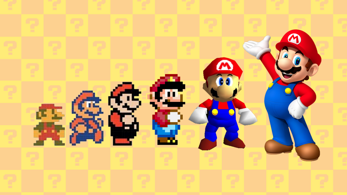 Mario throughout the years from the 1980s to present day