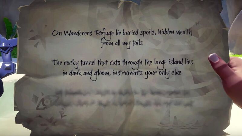Sea of Thieves riddle page with some lines blurred out