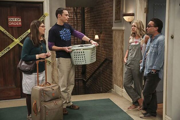cohabitation experimentation Sheldon holding laundry basket and Amy with luggage at the door with Penny and Leonard