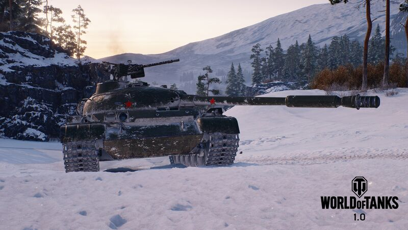A snowy tank rolls across a quiet battlefield in World Of Tanks.