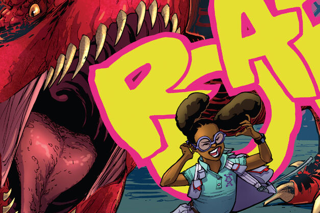 Lunella Lafayette, aka Moon Girl and her dinosaur having a dispute.