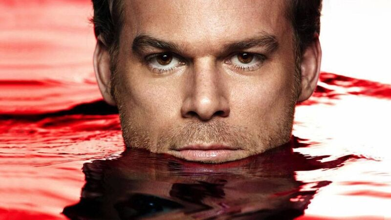 dexter in a red pool