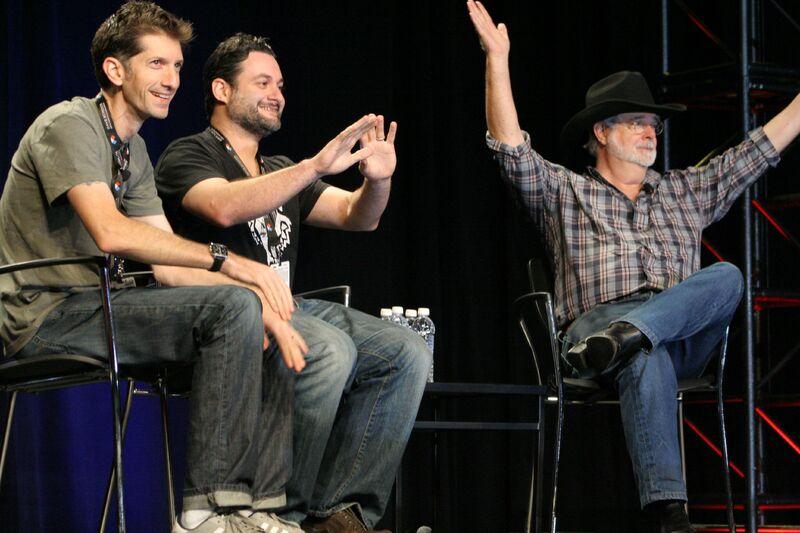 Joel Aron, Dave Filoni, and George Lucas at Star Wars Celebration VI (2012)
