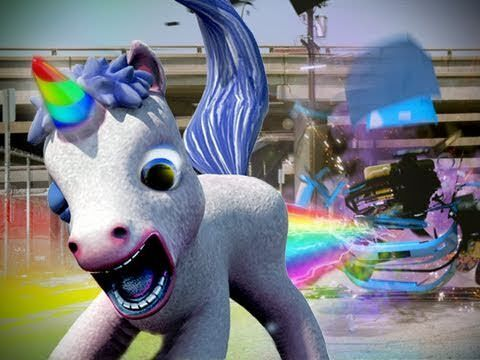 Red Faction game mr toots white unicorn with rainbow horn pooping rainbows at an enemy
