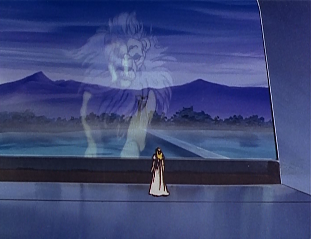 Allura and the white lion in 'Defender of the Universe'