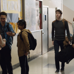 Tyler, and Cyrus walking down the hallway