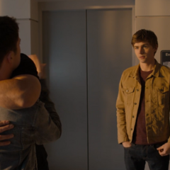 Zach hugging Clay as he goes to visit Justin