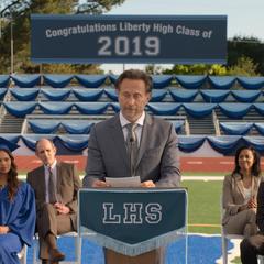 Principal Bolan speaking at graduation