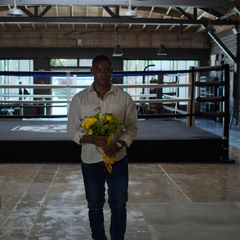 Caleb with flowers