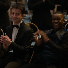 Tony, Clay, Caleb and Ani clapping for Charlie and Alex