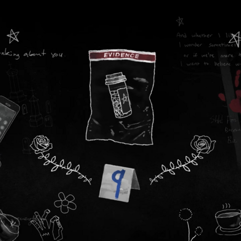 Opening intro shows a prescription bottle in an evidence bag as the ninth piece of evidence.