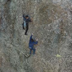 Clay and Tony rock climbing