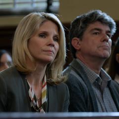 Jackie watching Andrew's testimony