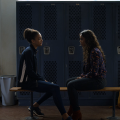 Nina and Jessica talking in the locker room.
