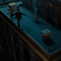 Zach and Alex walking on a roof