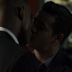 Caleb and Tony kissing