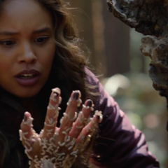 Jessica with maggots all over her hand