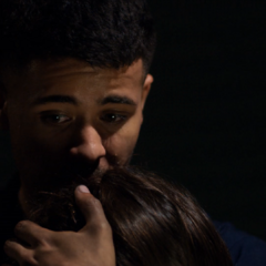 Tony hugging his sister