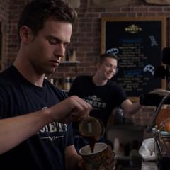 Justin making coffee