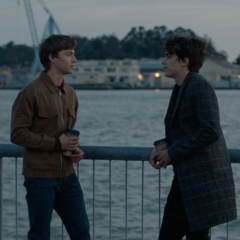 Alex and Winston hanging out at the pier