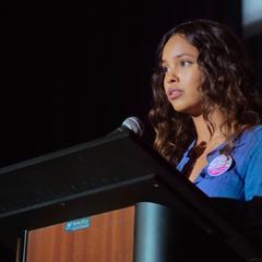 Jessica giving a speech