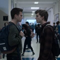 Justin and Alex fighting at school