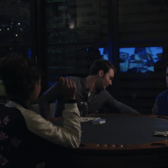 Jessica, Bryce and Justin playing poker at Bryce's pool house