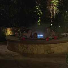 Justin, Jessica, Zach and another girl in the hot tub