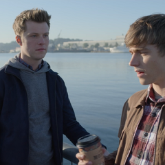 Charlie and Alex at the pier