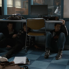 Charlie, Alex and Tony hiding