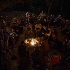 Everyone sitting around the campfire