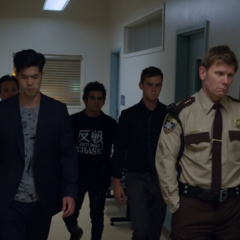 Zach, Cyrus and Justin at the sheriff's department
