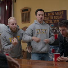 Clay playing a drinking game