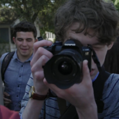 Tyler taking photos of the fight