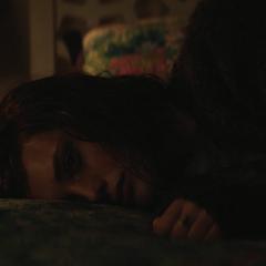Hannah lying in bed